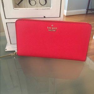 Kate Spade Neda Large red wallet EUC